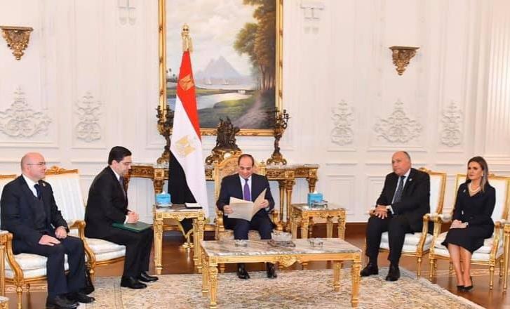 صورة الرئيس المصري يستقبل ناصر بوريطة حاملا رسالة خطية من جلالة الملك