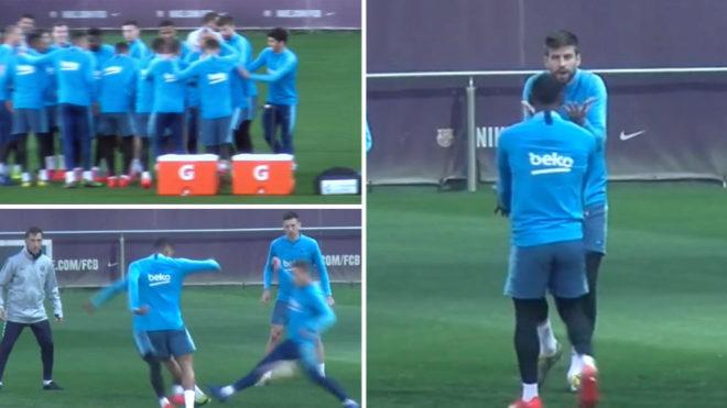 صورة بيكيه يصرخ في وجه كوتينيو في تداريب برشلونة