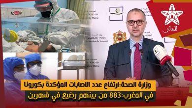 Photo of وزارة الصحة:ارتفاع عدد الاصابات المؤكدة بكورونا في المغرب:883 من بينهم رضيع في شهرين